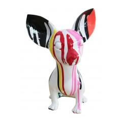 statue chien chihuahua taches de peinture multicolores en résine - CHOUPI