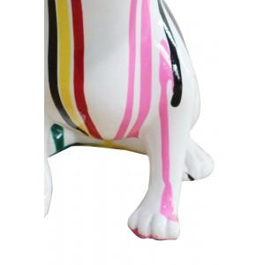 statue chien chihuahua taches de peinture multicolores en résine - zoom pattes - CHOUPI