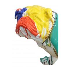 Statue chien bulldog taches de peinture multicolores en résine L7 3- zoom tête - PIPS