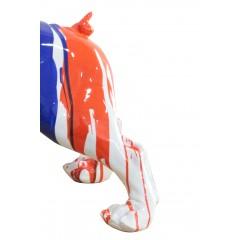 statue chien bulldog taches de peinture multicolores en résine L73 cm - train arrière - PIPS
