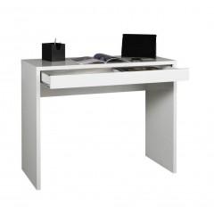 Console bureau avec tiroir 100 cm meuble blanc laqué - SHINE