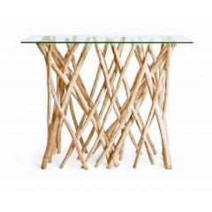 Console 120 cm en branche de teck avec plateau en verre rectangulaire - BRANCHY