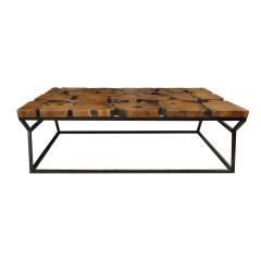 Table basse rectangulaire en teck et structure métal noir - design exotique industriel - STORM