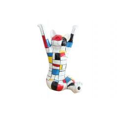 Statuette chien multicolore en résine H. 46cm -  RUBIKS