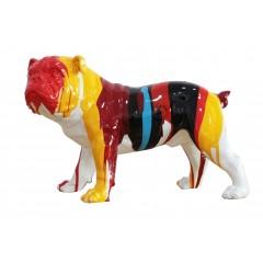 Statuette chien bulldog multicolore en résine -  JON