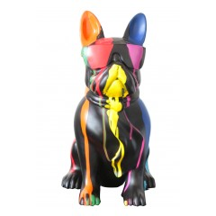 statue chien peint à lunette multicolore en résine -  KARL