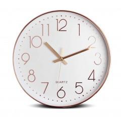 Horloge quartz ronde 30 cm blanche et cuivrée avec cadran à aiguilles - design scandinave moderne - HOME