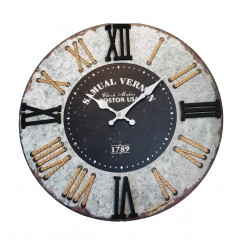 Horloge ronde 60 cm effet décor métal ancien gris  chiffres romains - design vintage rétro - BOSTON