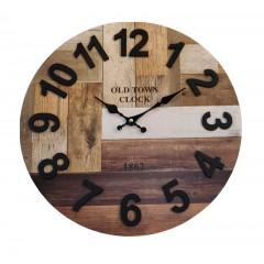 Horloge ronde 60 cm effet décor bois marron et noir - design industriel et moderne - 1862
