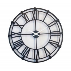 Horloge ronde 60 cm métal noir chiffres romains - design antique industriel - NATIK