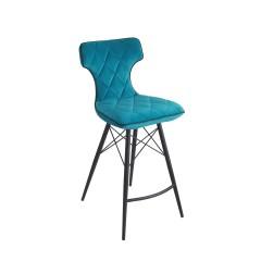 Tabouret de bar velours bleu matelassé pieds métal noir - chaise haute design lounge contemporain -  CHILLI