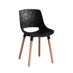 Chaise coque noire plastique texturée piétement bois- CASSINO