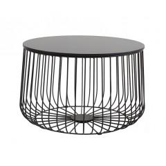 Table basse filaire ronde en métal noir - FIL
