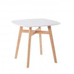 Table de repas carré 80 cm scandinave plateau blanc et piétement bois clair - ROMA