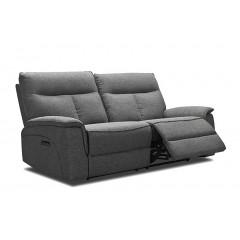 Canapé relaxation 3 places en tissu gris chiné - LUCIA