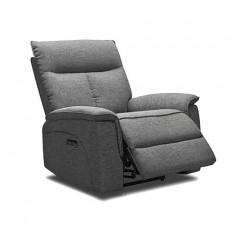 Fauteuil relaxation en tissu gris chiné - LUCIA