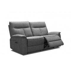 Canapé relaxation 2 places en tissu gris chiné - LUCIA