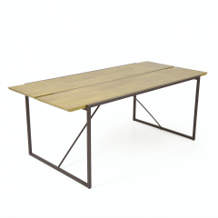 Table 195 cm bois pin massif métal - NORDIK