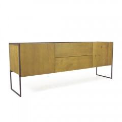Bahut 2 portes 2 tiroirs bois massif métal - NORDIK