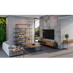 Meuble TV en pin massif et métal - Vue ambiance salon - NORDIK