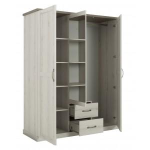 Armoire 3 portes 2 tiroirs effet blanchi - vue ouverte - WALLIS