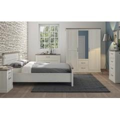 Armoire 3 portes 2 tiroirs effet blanchi - Ambiance chambre à coucher - WALLIS