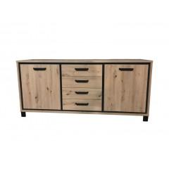 Buffet 2 portes 4 tiroirs en bois chêne - encadrement noir - poignée métal noir - moderne et authentique - IBIZA