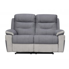 Canapé 2 places relax électriques en tissu gris et beige - style moderne et cosy - ALICE