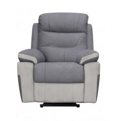 Fauteuil relaxation motorisé en tissu gris - style moderne et cosy - ALICE