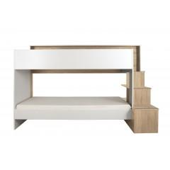 Lits superposés 90x200 blanc et décor chêne - COMBI
