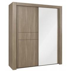 Armoire 2 portes avec miroir décor chêne marron - chambre design contemporain - ANOUK