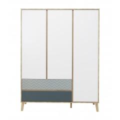 Armoire/penderie 3 portes 2 tiroirs décor chêne beige, blanc, bleu - SCANDI