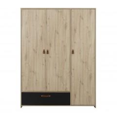 Armoire 3 portes 1 tiroir décor chêne beige et noir - penderie étagères design contemporain - ARTHUR