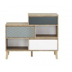 Commode bibliothèque 3 tiroirs 2 niches décor chêne beige, blanc, bleu - Sidoine