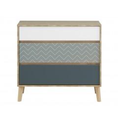 Commode 3 tiroirs décor chêne beige, blanc, bleu - SCANDI