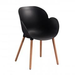 Chaise coque plastique noir et piétement bois - PESCARA