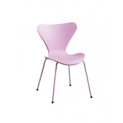 Chaise rose empilable piétement acier blanc - ANZIO