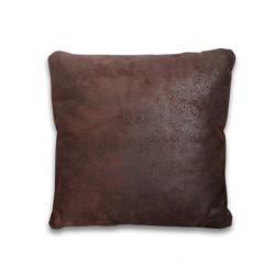 Coussins 40 x 40 cm marron effet simili vieillit doux - LUGANO