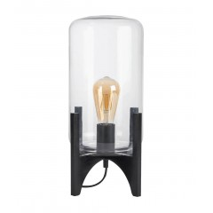 Lampe à poser avec cloche en verre et pieds en bois noir - MARTIA