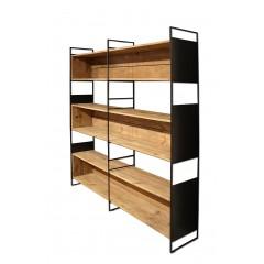 Bibliothèque 6 étagères en bois recyclé et métal noir - ORIGIN