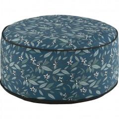 Pouf rond en tissu bleu motifs fleurs - CAPRICE