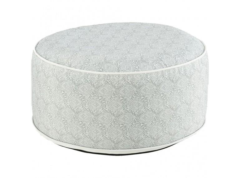 Pouf rond en tissu gris à motifs gonflable - assise d'appoint intérieur extérieur - CAPRICE