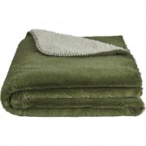 Plaid vert et blanc imitation fausse fourrure - 2 dimensions disponibles - Marius