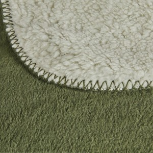 Plaid vert et blanc imitation fausse fourrure - zoom produit belle qualité - molletonné - Marius
