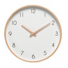 Horloge murale avec chiffres en bois clair et blanche diamètre aiguilles bois - ABELIA