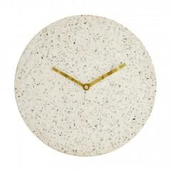 Horloge murale en terrazzo blanc diamètre 28 cm aiguilles métal doré - STONE