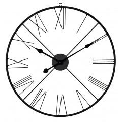 Horloge silencieuse murale en fer noir avec chiffres romains diamètre 60 cm- ROMANE