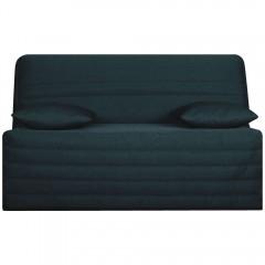 Housse de banquette clic clac 130 cm en tissu bleu pétrole matelassé confortable - ZAG