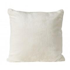 Petite housse de coussin carrée blanche effet polaire 40x40 cm - ROBIN