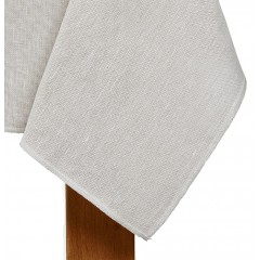 Nappe blanc/lin naturel rectangulaire en coton et lin 350x145 - ALICE